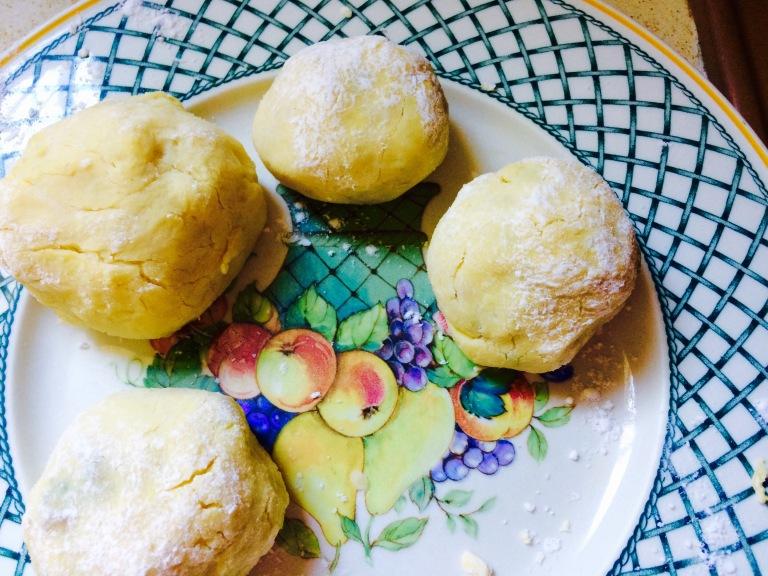 Les boulettes bien farinés de fécule